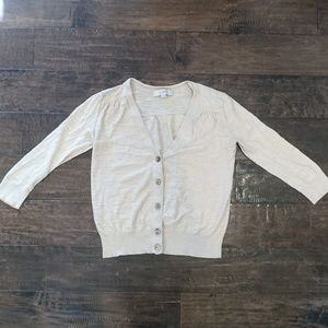 Ann Taylor Loft Beige Cardigan XS 3/4 Sleeve
